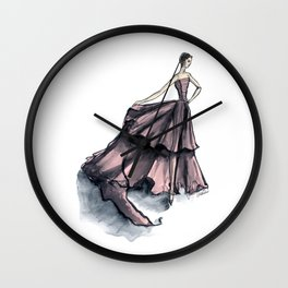 Audrey Hepburn in Pink dress vintage fashion Wall Clock