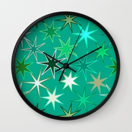 Modern Starburst Print, Turquoise and Aqua Wall Clock