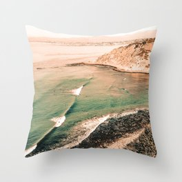 California Pacific Coast Highway // Vintage Waves Crashing on the Beach Teal Ocean Water Throw Pillow