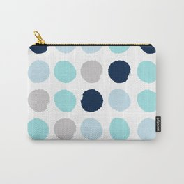 Minimal painted dot polkaed ot pattern blue navy indigo gender neutral nursery Carry-All Pouch