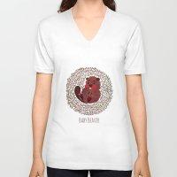 beaver V-neck T-shirts featuring Baby Beaver by haidishabrina