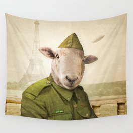 Private Leonard Lamb visits Paris Wall Tapestry