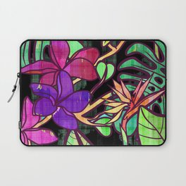 Tropical leaves and flowers, jungle print Laptop Sleeve
