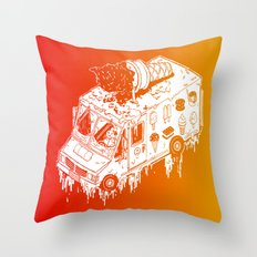Melty Ice Cream Truck - sherbet Throw Pillow
