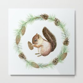 Christmas wreath and squirrel Metal Print