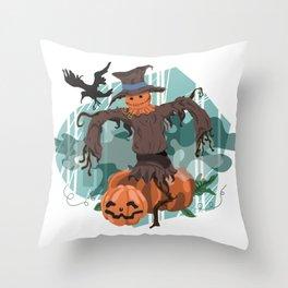Scary Scarecrow Throw Pillow