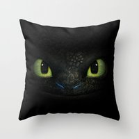 toothless Throw Pillows featuring Toothless  by aleha
