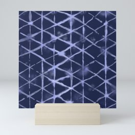 Shibori Isometric Blue Pattern Mini Art Print