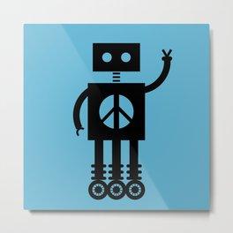Peace Bot (Blue) Metal Print