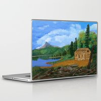 cabin Laptop & iPad Skins featuring Old cabin by maggs326