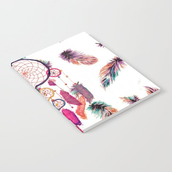 Hipster Watercolor Dreamcatcher Feathers Pattern Notebook