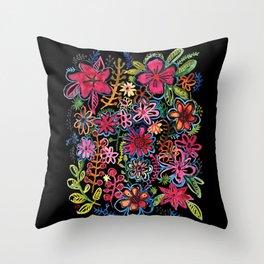 Meadow on black Throw Pillow