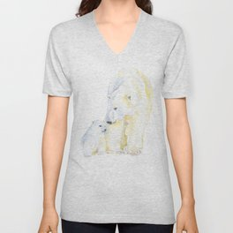 Mother and Baby Polar Bears Watercolor Unisex V-Neck