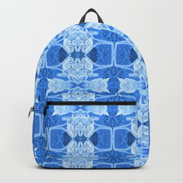 Intricate Contemporary Blue Floral Pattern Backpack