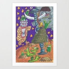Alien May Day & Fire  Frogs Art Print