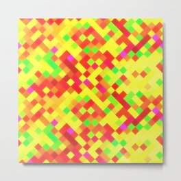 Yellow Red Bright Squares Metal Print