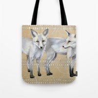 foxes Tote Bags featuring foxes by Ashley White Jacobsen