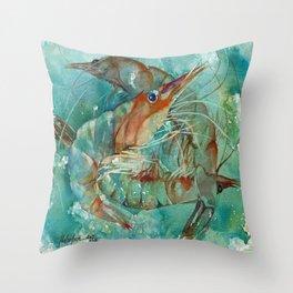 Watercolor Shrimp Throw Pillow