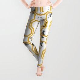 Gold leaf geometric pattern Leggings