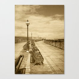 Swanage Pier In Sepia Canvas Print