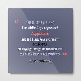 B.A.P Yongguk Quote Metal Print