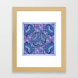 7 Blue Celtic Horses Framed Art Print