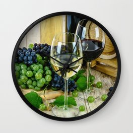 Glasses of Wine plus Grapes and Barrel Wall Clock