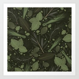 Green Herbs Spices / Olive Green Palette Art Print