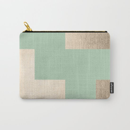 Simply Geometric White Gold Sands on Pastel Cactus Green Carry-All Pouch