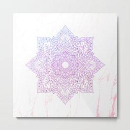 Violet pink flower mandala - marble Metal Print