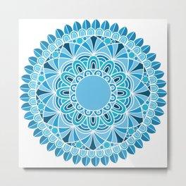blue snowflake mandala Metal Print