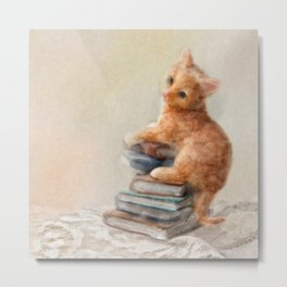 Cute cat standing on stack of books. Oil painting. Metal Print