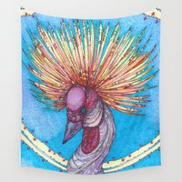 crane Wall Tapestries featuring Crowned Crane by Kate Fitzpatrick