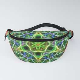 Feathered texture mandala in green and brown Fanny Pack