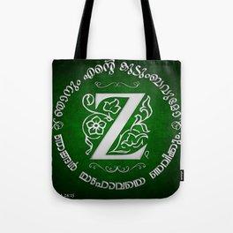 Joshua 24:15 - (Silver on Green) Monogram Z Tote Bag