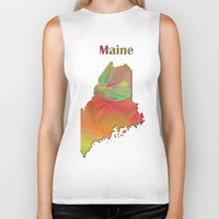 maine Biker Tanks featuring Maine Map by Roger Wedegis