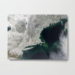 Winter Aerial View of New York, Long Island, Rhode Island, Cape Cod & New England Metal Print