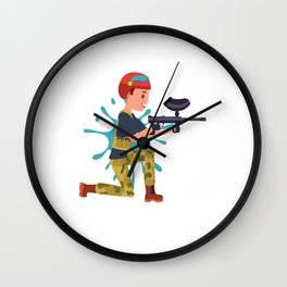 Paintball Player Military Paintball Marker Gift Wall Clock