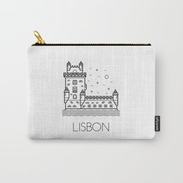 Belém Tower Lisbon Portugal Black and White Carry-All Pouch