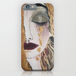 Woman in gold, Painting, Acrylic, The kiss, Kiss, Klimt inspired, Golden age iPhone Case