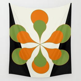 Mid-Century Modern Art 1.4 - Green & Orange Flower Wall Tapestry
