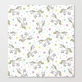 Unicorns and Stars - White and Rainbow scatter pattern Canvas Print