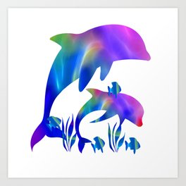 Rainbow Dolphins swimming in the sea Art Print
