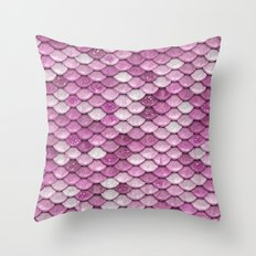 Light Pink Glitter mermaid sparkling scales - Mermaidscales Throw Pillow
