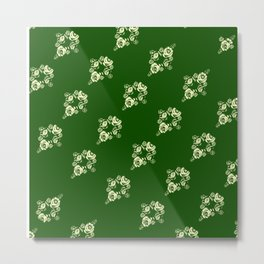 Canalflowers on green pattern Metal Print