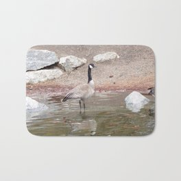 Majestic Fellow, Beautiful Canadian Goose On Pond,Wildlife Bath Mat