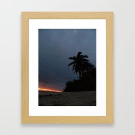Night time beach stroll Framed Art Print