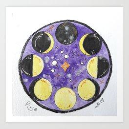 Moon Phases - purple Art Print