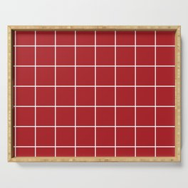 Burgundy Simple Plaid Serving Tray