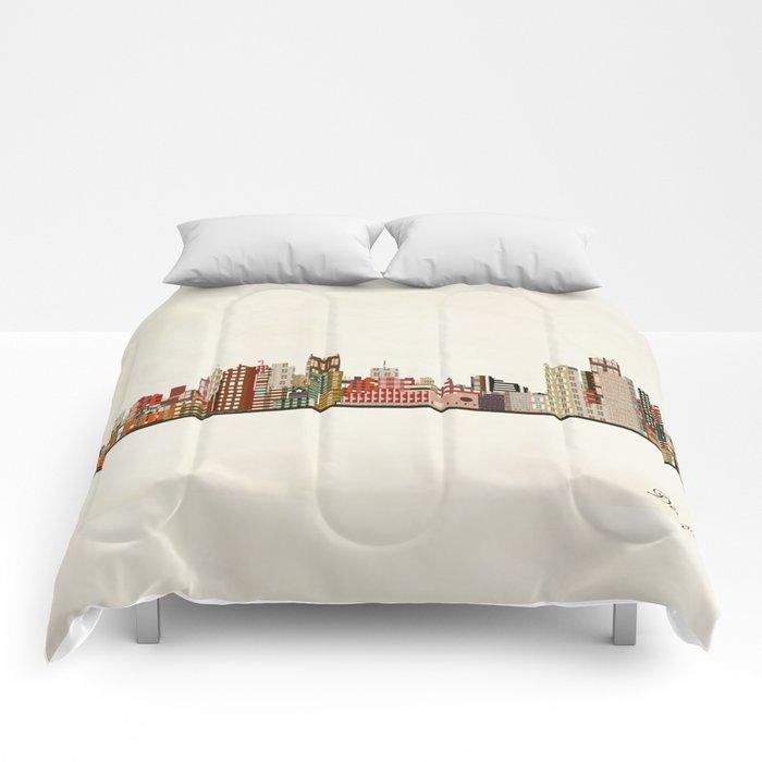 detroit skyline Comforters